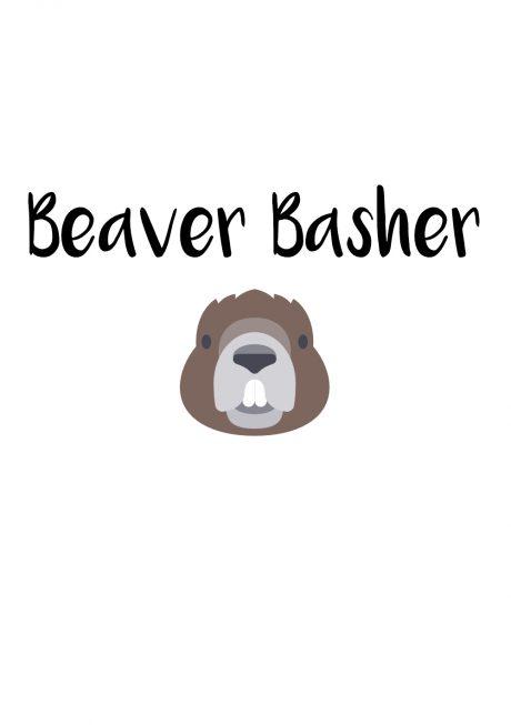 Beaver Basher A4 greetings card