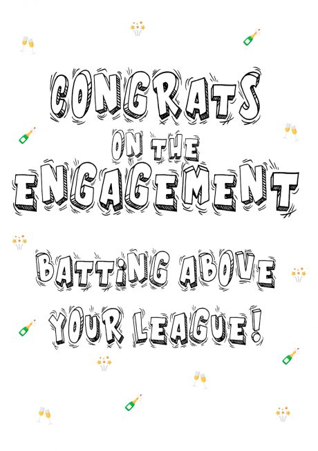 Congrats on engagement batting above your league A4 greetings card