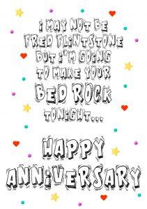 HA fred flintstone bed rock A4 greetings card