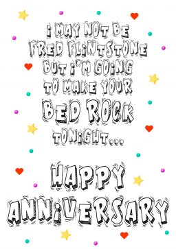 HA fred flintstone bed rock A4 greetings card