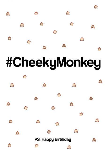 #CheekyMonkey Happy Birthday greetings card