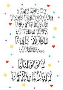 HB fred flintstone bed rock A4 birthday greetings card