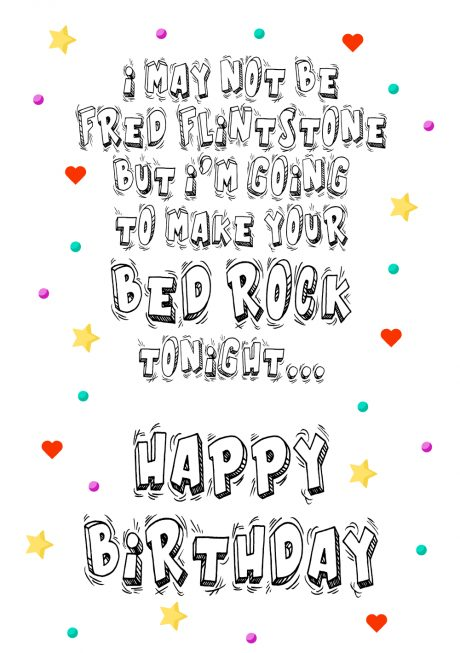 HB fred flintstone bed rock A4 birthday greetings card
