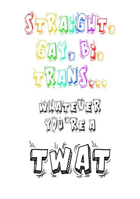 LGBT twat A4 greetings card