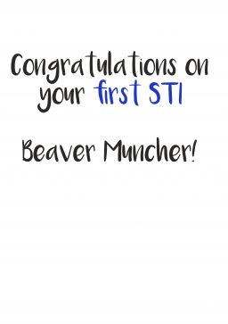 First STI beaver muncher greetings card