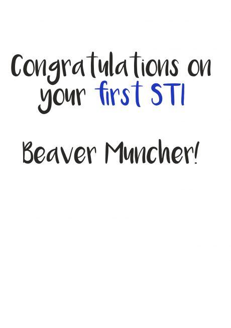 First STI beaver muncher greetings card