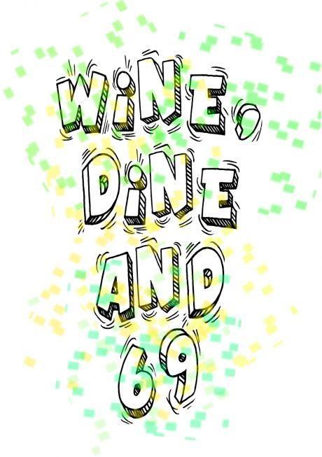 Wine dine 69 greetings card