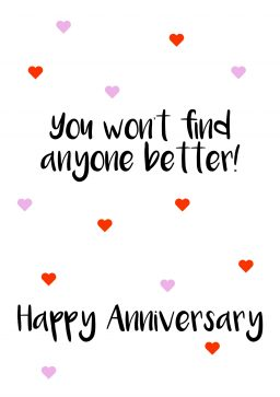 You wont find anyone better A4 happy anniversary greetings card