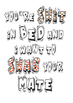 shit in bed shag mate A4 greetings card